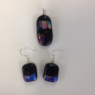 glass pendant and earring set