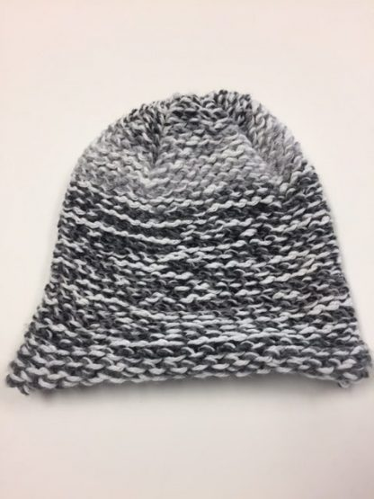 grey and white hat